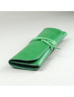 Plumier en piel verde
